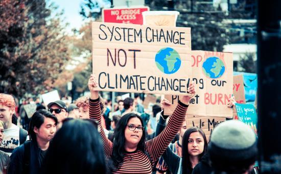 System change not climate change protestors