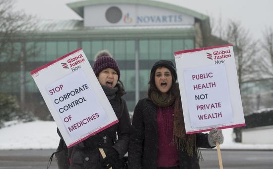 health protestors outside Pharma giant Novartis' HQ