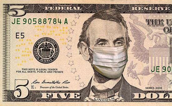 Five dollar bill with face mask