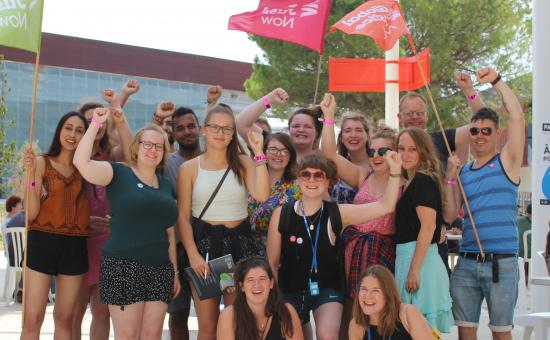 Global Justice Now staff and youth network members at the ATTAC Summer University for social movements